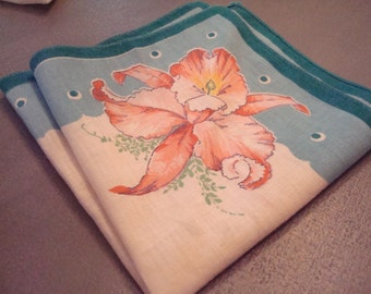 Vintage Cattelya Orchid Hanky - Great Vintage Condition!!