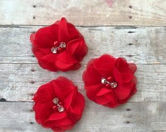 "2"" Chiffon Flower, Red rhinestone and pearl flower, DIY Hair Accessories, Craft Supplies, Wholesale flowers, Baby headband supply"
