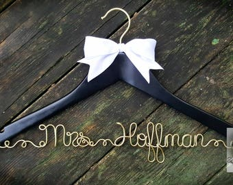 BRIDE Wire Name Hanger - Black & Gold Wedding Dress Hanger - Black Hanger - White bow Hanger - Custom name - Unique Design Hanger - OOAK
