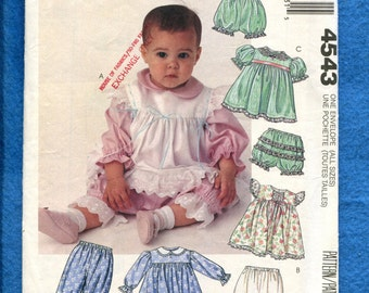 McCalls 4543 Baby Girl Pinafore Puff Sleeve Dress & Bloomers Sizes Newborn to Size 2