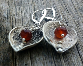 Handmade Silver & Gemstone Earrings - On Sale - Hessonite Garnet - Reticulated Silver