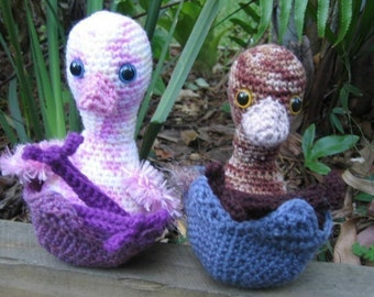 Emu Chicks and Egg Shell - crochet pattern
