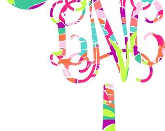 Monogram Decal, Car Monogram, Monogram SC Initial Tree Decal