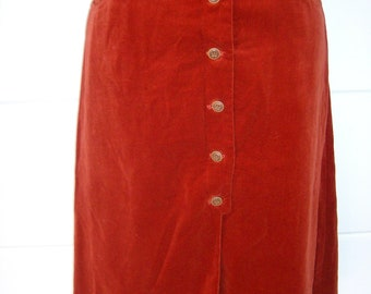 Paprika Red A line Velvet Skirt Button Front Lined Boho Hippie High Waisted Rounded Front 70s Skirt New