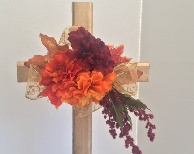 Fall Cemetery flowers, flowers for grave, fall grave decoration, memorial cross, Cross for grave, In memory of, floral memorial