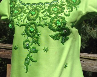 Vintage Lime Green Beaded Embroidered Top Thai Couture