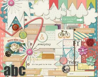 "INSTANT DOWNLOAD Digital Scrapbooking Kit ""Friday"" - Spring - Summer - Retro"