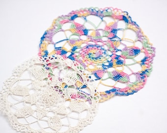 Vintage Multicolor Varigated Hand Crocheted Doily and Small White Doily