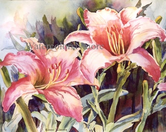 Lilies, ACEO or 5 x 7 Note Card, watercolor print, flower, 892 Florida Hot Lillies, lily coral, orange