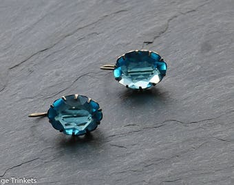 Vintage guilded 875 silver with anique patina blue glass earrings