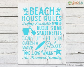 BEACH HOUSE DECOR, Beach House Rules, Gift for Couple, New Home Gift, Housewarming Gift, Beach Decor, Family Name Art, Personalized Gift