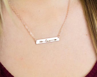 Gold Love Necklace, Love Letter Necklace, Gold Bar Necklace, Stamped Bar Necklace, Love Script Necklace, Gold Love Necklace, Bar Necklace