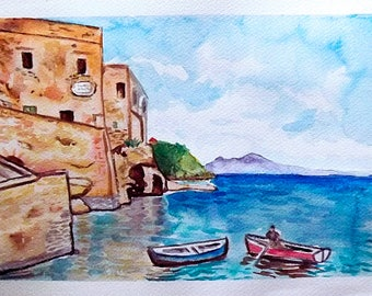 Watercolor Marechiaro Naples Hand Painted