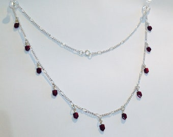 faceted garnet on silver chain necklace