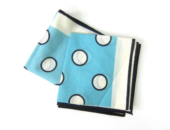 Vintage Head Scarves Rockabilly Scarf Bandana Collection Blue White Polka Dots Hankie Handkerchief Collection Polka Dotted Pin Up Girl wraps