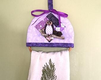 Owl Towel Hanger - Owl gift, kitchen owl, purple owl towel hanger