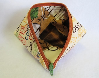 Coin Purse - Mini Storage Pouch - Wonder Clip Bag - Cosmetic Bag - Zipper Pouch - Sweet Pea Pod - Gift Bag - Fabric Pouch - Sewing Pouch