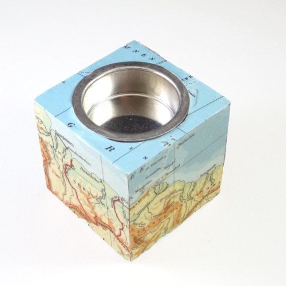 World map candle holder