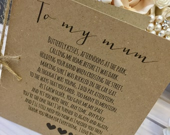 Vintage/Rustic 'To My Mum' Wedding Day Poem Card - show Mum how special she is!