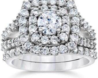 2.00CT Diamond Engagement Cushion Double Halo Ring Matching Wedding Band 14K White Gold