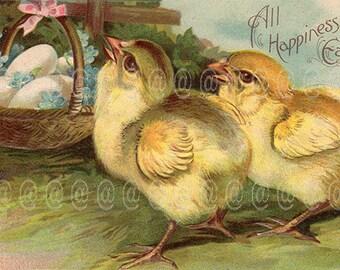 Digital download vintage Easter postcard, Chicks, egg basket, bow