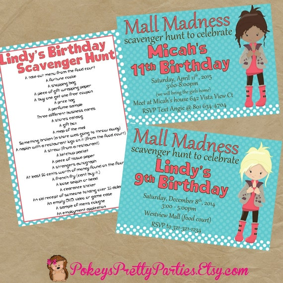 Items Similar To Mall Scavenger Hunt Birthday Party