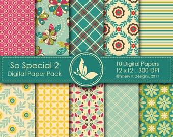 So Special 2 Paper Pack - 10 Printable Digital papers - 12 x12 - 300 DPI //////2