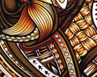 Hawaiian Print Barkcloth - Fabric Yardage / Woven Fabric / Cotton Fabric / 1960s Fabric / Hawaiian Fabric / Barkcloth Yardage / Brown