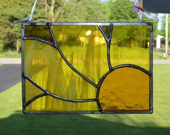 Stained Glass Suncatcher Abstract Sunflower Gold / Yellow Flower!!!