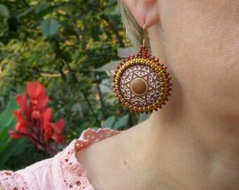 Ethnic earrings rustic beaded earrings wedding button earrings funny friend gift african festival earring boho earrings brown belly dance