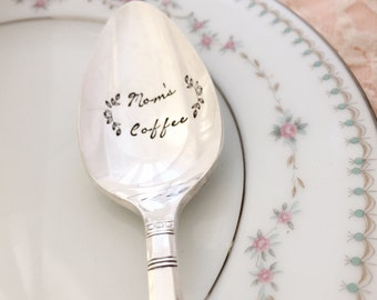 mom's coffee: Hand stamped spoon  vintage.
