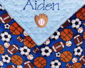 Sports Theme Baby Gift, Baby Boy Lovie, Monogram Minky, Custom Baby Shower Gift, Newborn Boys, Baseball, Football, Basketball, Soccer, 18x18