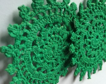Green doily earrings, crochet jewelry, gifts for her, crochet accessories, tatted earrings