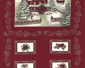 "Moda - Once Upon A Memory - 24"" x 44"" Christmas Winter Panel - Crimson - Fabric by the Panel 6730-15"