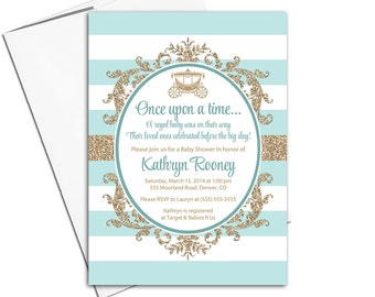 Royal baby shower invitation gender neutral | gold and mint baby shower invites | printable or printed - WLP00716