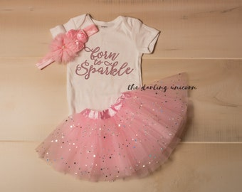 Born to Sparkle infant girl bodysuit, baby girl bodysuit, newborn coming home outfit, infant outfit, newborn outfit, pink tutu, sparkle