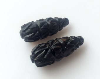 Unique Black Onyx Carvings , Hand Carved, Stone Carvings, Black Gemstone Carvings, Matched Pairs, 26x10mm - SKU C31