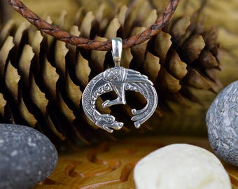 Lunula Semargl pendant. Replica of an amulet of 10th Century. Handmade Moon pendant. Ancient Nordic Talisman. Scandinavian Woman Symbol