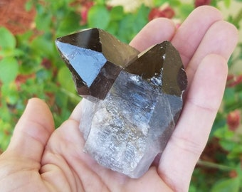 "2.25"" Twin Smoky Quartz Point, 90 degree Angle, Self Standing, Etched, Channeling, Keyhole, Tower, Wand, Generator, Large, Palm, Grid, Altar"