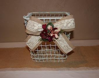 Wedding Wire Basket / Burlap and Lace Basket / Wedding Program Basket /
