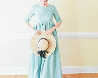 High Waist Dress - empire waist dress - reenactment dress - Regency dress Made to measure pioneer Dress empire waist dress reenactment dress