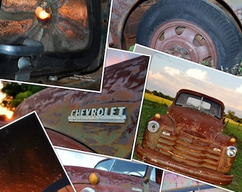 Old Chevy Truck Collage on Tin & Barn Wood