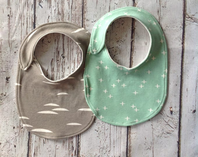 Mint Green and Gray Organic Baby Bibs set of 2