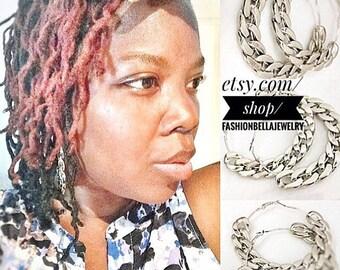 Silver torsade earrings