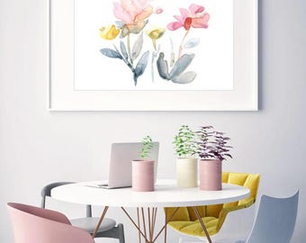 Giclée Watercolor print, Archival Art Print, Frame NOT included, SenayStudio Summer Energy Abstract Floral Print High Quality Watercolor Art