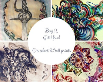 Buy 2 get 1 free Charcoal and pastel drawing, orignial sword and rose with victorian frame print
