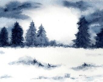 "Winter scenery "" wood "" original watercolorpainting"
