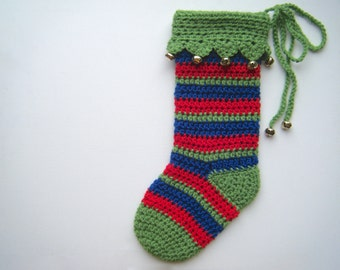 DIY Crochet Pattern: Christmas Stocking, modern holiday decor, kids striped stocking, InStAnT DoWnLoAd Permission to Sell