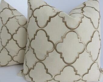 Oatmeal Linen Pillow Cover, Pillow Cover, Embroidered Pillow, Natural Pillow Cover, Embroidered Brown Gold Pillow