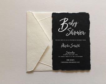 Baby Shower Invitation | Black and white Baby Shower Invitation | Baby Shower Invite | gender neutral baby shower invite | Deckled Edge